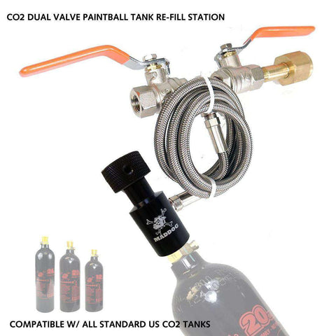 Maddog Paintball CO2 Fill Station, CO2 Dual Valve Bottle Refill Station for 12oz, 16oz, 20oz, + CO2 Tanks