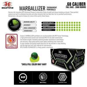 Empire Marballizer .68 Caliber Paintballs - Clear Blue Swirl Shell / Yellow Fill - Full Case 2,000 Rounds