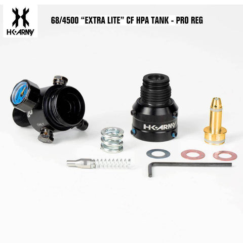 HK Army Hex 68/4500 Extra Lite Carbon Fiber Compressed Air HPA Paintball Tank - V2 Pro Regulator