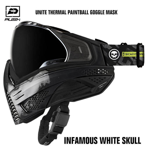 Push Unite Thermal Paintball Goggle Mask w/ Protective Case - Infamous White Skull - PaintballDeals.com