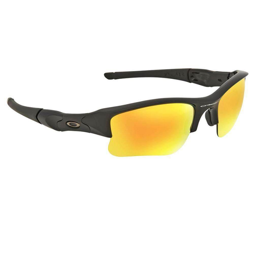 2cb39c809d7b CLEARANCE - Oakley Men's Flak Jacket XLJ Sunglasses - Polished Black w/  Fire Iridium Lens