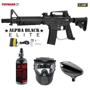 Tippmann U.S. Army Alpha Black Elite Tactical Beginner HPA Paintball Gun Package