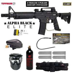Tippmann U.S. Army Alpha Black Elite Tactical Gold Paintball Gun Package