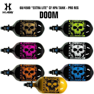 HK Army Doom 68/4500 Extra Lite Carbon Fiber Compressed Air HPA Paintball Tank - V2 Pro Regulator