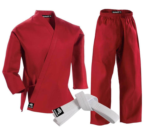 CLEARANCE - Zephyr Martial Arts Karate Gi Student Uniform with Belt - Red - 4 - OPEN BOX