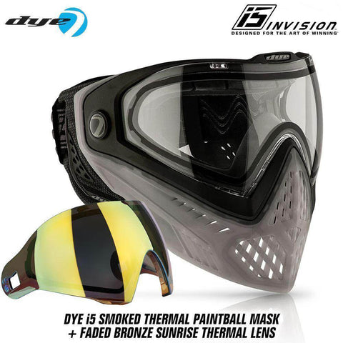 Dye I5 Thermal Paintball Mask Goggles with GSR Pro Strap - SMOKED Smoke / Black