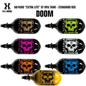 HK Army Doom 68/4500 Extra Lite Carbon Fiber Compressed Air HPA Paintball Tank - Standard Regulator