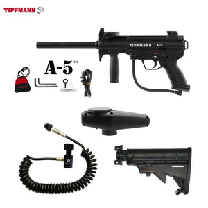Tippmann A-5 Paintball Gun + Standard Remote Coil & Stock Combo Package