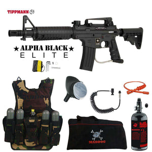 Tippmann U.S. Army Alpha Black Elite Tactical Maddog Lieutenant HPA Tactical Camo Vest Paintball Gun Package