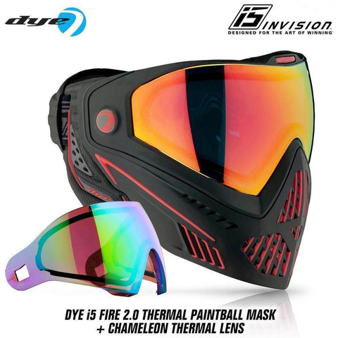 Dye I5 Thermal Paintball Mask Goggles with GSR Pro Strap - Fire 2.0 Black / Red