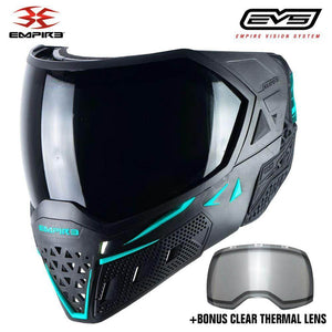 Empire EVS Thermal Paintball Mask - Black / Aqua - PaintballDeals.com