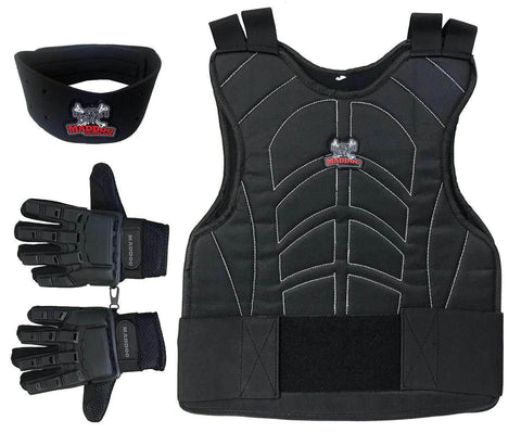 Maddog Padded Chest Protector, Full Finger Tactical Gloves, & Neck Protector Combo Package