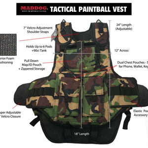 Tippmann A-5 Maddog Lieutenant HPA Tactical Camo Vest Paintball Gun Package