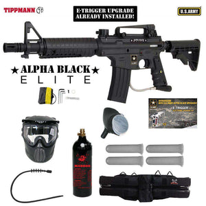 Tippmann U.S. Army Alpha Black Elite Tactical Silver Paintball Gun Package
