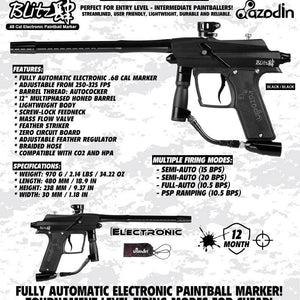 Azodin Blitz 4 Electronic .68 Caliber Paintball Gun - Black / Black