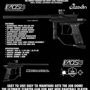 Azodin Kaos 3 Semi-Automatic .68 Caliber Paintball Gun Marker - Black / Black - PaintballDeals.com