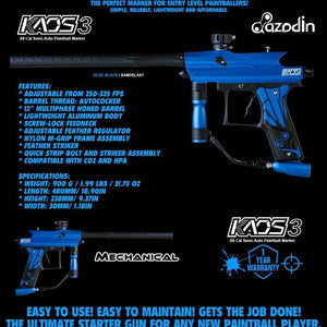 Azodin Kaos 3 Semi-Automatic .68 Caliber Paintball Gun Marker - Blue / Black - PaintballDeals.com