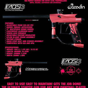 Azodin Kaos 3 Semi-Automatic .68 Caliber Paintball Gun Marker - Pink / Black - PaintballDeals.com