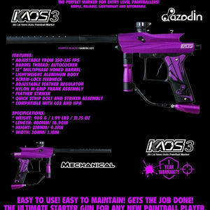Azodin Kaos 3 Semi-Automatic .68 Caliber Paintball Gun Marker - Purple / Black