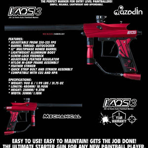Azodin Kaos 3 Semi-Automatic .68 Caliber Paintball Gun Marker - Red / Black - PaintballDeals.com
