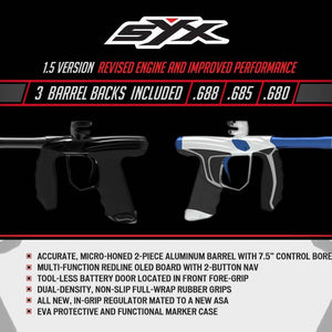 Empire Syx 1.5 Electronic Paintball Gun Marker with 3 Barrel Backs