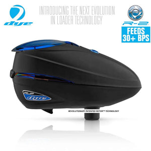 Dye Rotor R2 Electronic Paintball Loader - Black / Blue Ice - PaintballDeals.com