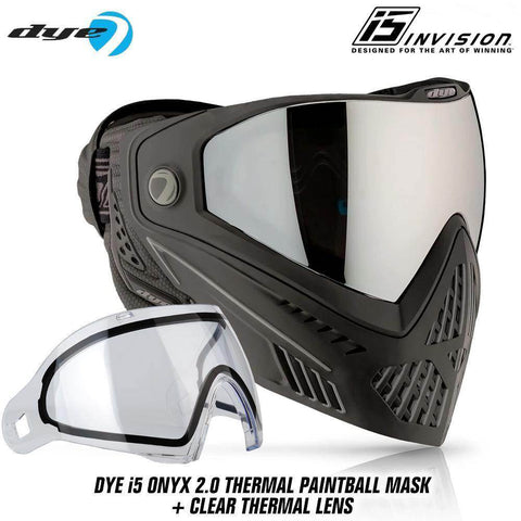 Dye I5 Thermal Paintball Mask Goggles with GSR Pro Strap - Onyx Black / Grey