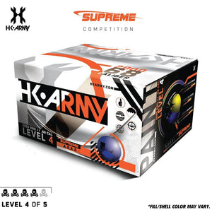HK Army Supreme Paint .68 Caliber Paintballs - Level 4/5 - Pearl Blue Shell / Yellow Fill