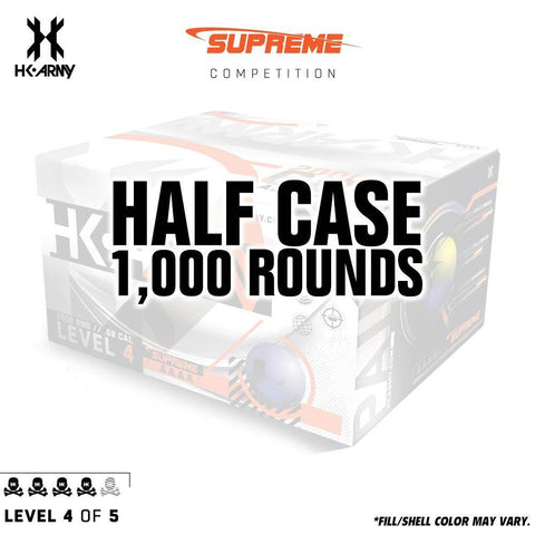 HK Army Supreme Paint .68 Caliber Paintballs - Level 4/5 - Pearl Blue Shell / Yellow Fill - PaintballDeals.com