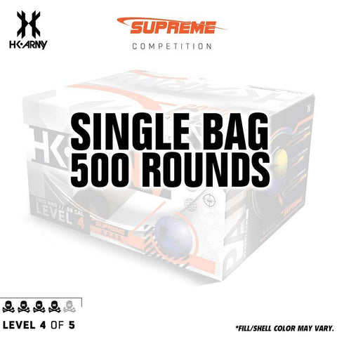 HK Army Supreme Paint .68 Caliber Paintballs - Level 4/5 - Pearl Blue Shell / Yellow Fill - Single Bag - 500 Rounds