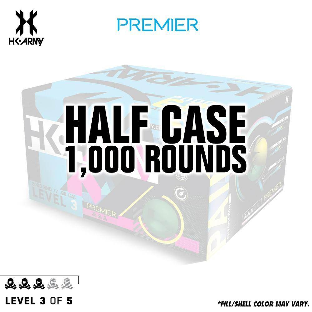 HK Army Premier Paint .68 Caliber Paintballs - Level 3/5 - Lime Green Shell / Yellow Fill - 1000 Rounds Half Case