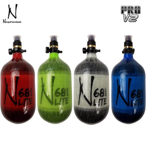Ninja Paintball LITE TRANSLUCENT 68/4500 Carbon Fiber Compressed Air HPA Paintball Tank with Pro V2 Regulator - PaintballDeals.com