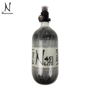 Ninja Paintball LITE TRANSLUCENT 45/4500 Carbon Fiber Compressed Air HPA Paintball Tank with Standard Regulator - Grey - PaintballDeals.com