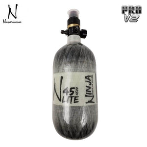 Ninja Paintball LITE TRANSLUCENT 45/4500 Carbon Fiber Compressed Air HPA Paintball Tank with Pro V2 Regulator - Grey - PaintballDeals.com