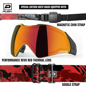 Push Unite Thermal Paintball Goggle Mask w/ Protective Case - Special Edition Tan / Black - PaintballDeals.com