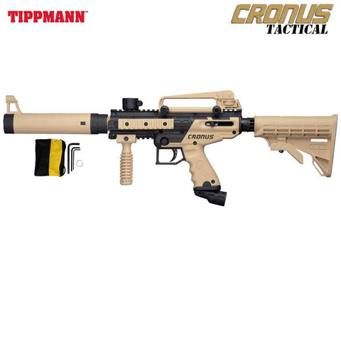 Tippmann Cronus TACTICAL Semi Auto .68 Cal Paintball Gun Marker - Black / Tan - PaintballDeals.com