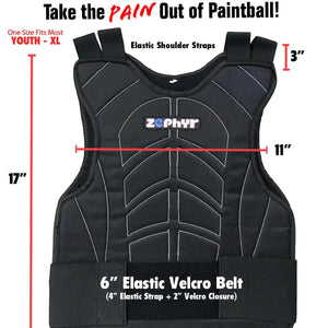 Zephyr Tactical Padded Paintball Chest Protector - Stealth Black