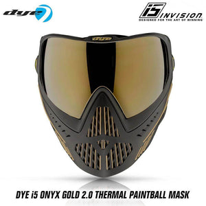 Dye I5 Thermal Paintball Mask Goggles with GSR Pro Strap - Onyx Gold 2.0 Black / Gold - PaintballDeals.com
