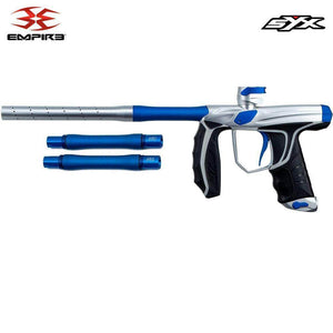 Empire Syx 1.5 Electronic Paintball Gun Marker with 3 Barrel Backs - Dust Silver / Blue - PaintballDeals.com