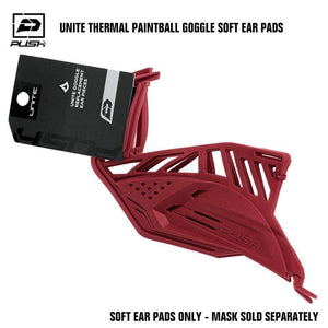 Push Unite Paintball Goggle Mask Soft Ear Pads - Red - PaintballDeals.com