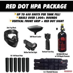 Maddog Tippmann Bravo One Elite Tactical HPA Red Dot Paintball Gun Package