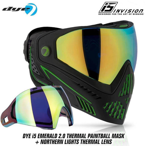 Dye I5 Thermal Paintball Mask Goggles with GSR Pro Strap - Emerald 2.0 Black / Lime