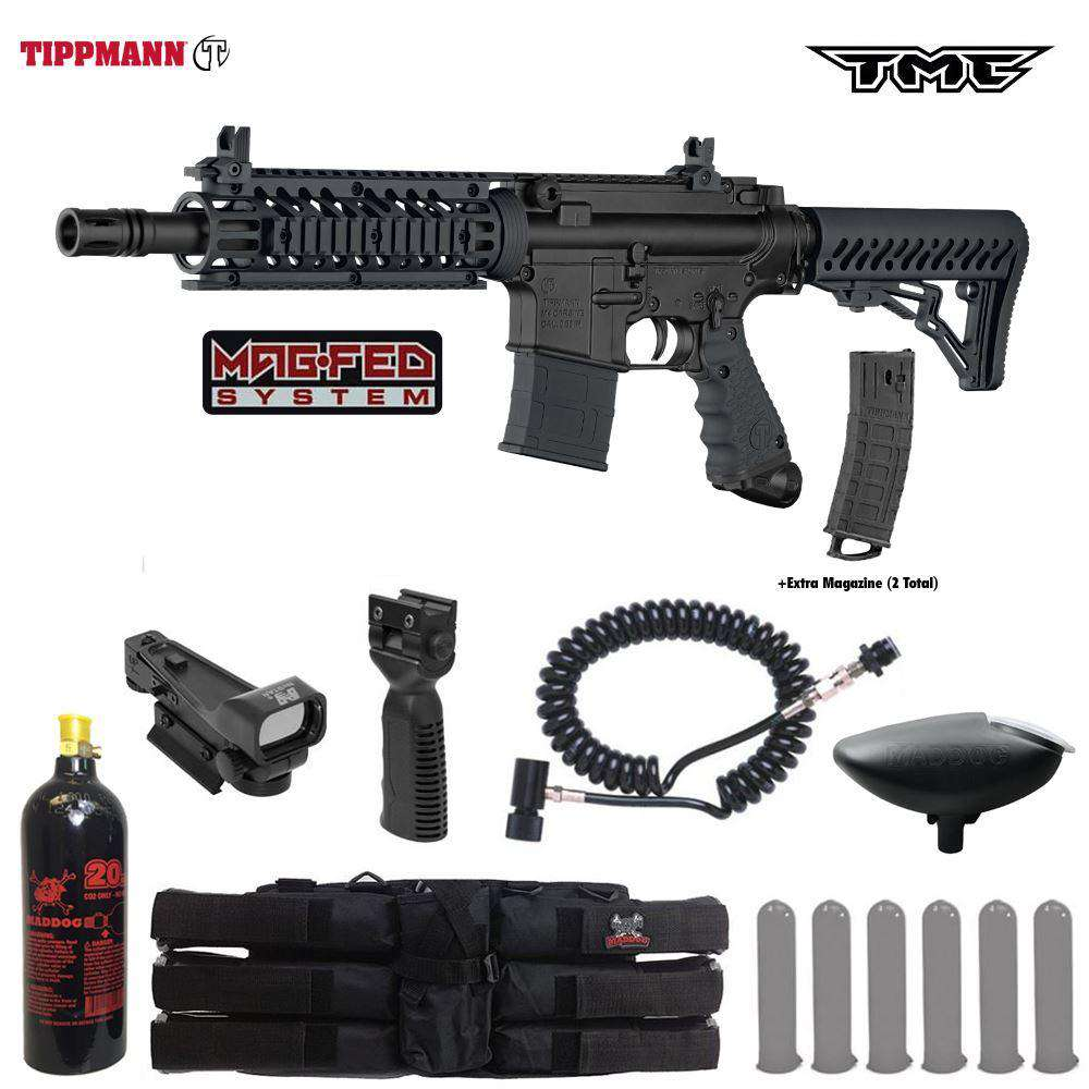 Tippmann TMC MAGFED Tactical Red Dot Paintball Gun Package
