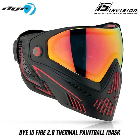 Dye I5 Thermal Paintball Mask Goggles with GSR Pro Strap - Fire 2.0 Black / Red - PaintballDeals.com