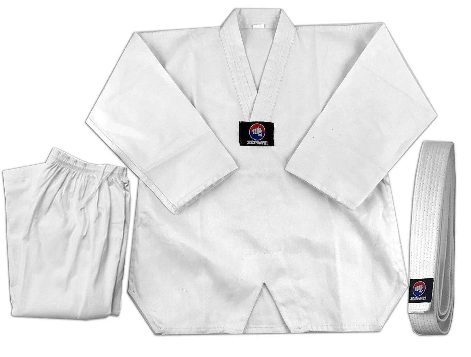 CLEARANCE - Zephyr Tae Kwon Do Gi Student Uniform with Belt - White - 5 - OPEN BOX