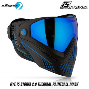Dye I5 Thermal Paintball Mask Goggles with GSR Pro Strap - Storm 2.0 Black / Blue - PaintballDeals.com