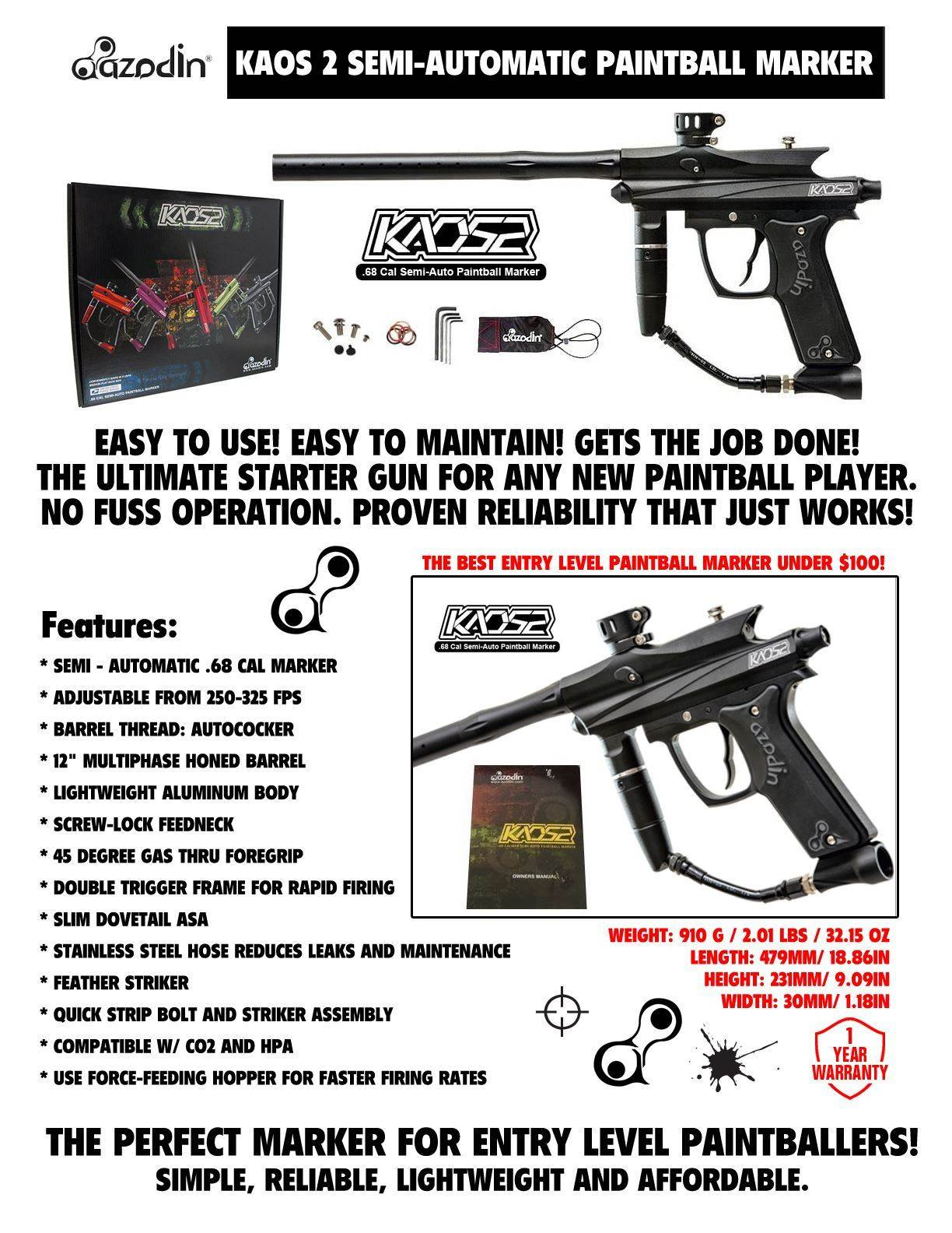 Azodin Kaos 2 Titanium Paintball Gun Package