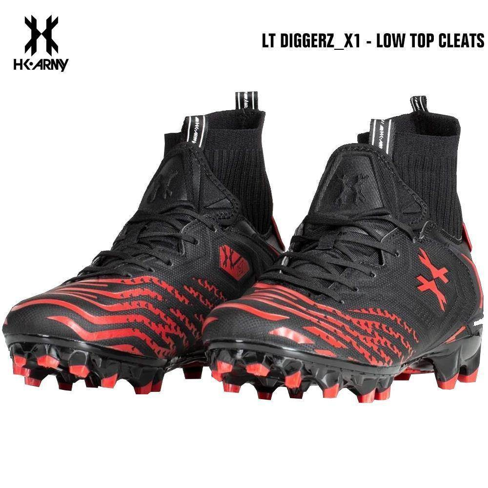 HK Army LT Diggerz_1 Low Top Paintball Cleats - Black/Red