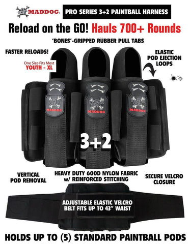 Maddog Pro Paintball Harness Pod Vertical Holder Belt 3+2 4+3 5+5