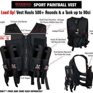 Maddog Lightweight Paintball Sport Vest - Black